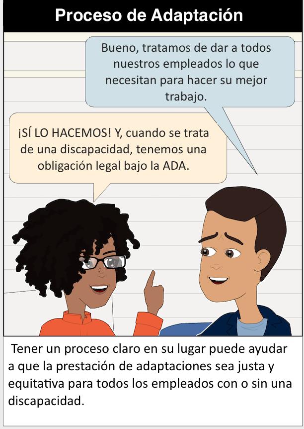 Panel #3 Proceso de Adaptación Propietario de una pequeña empresa: Bueno, tratamos de dar a todos nuestros empleados lo que necesitan para hacer su mejor trabajo. Alguien en un rol de recursos humanos: ¡SÍ LO HACEMOS! Y, cuando se trata de una discapacidad, tenemos una obligación legal bajo la ADA. Texto de apoyo: Tener un proceso claro en su lugar puede ayudar a que la prestación de adaptaciones sea justa y equitativa para todos los empleados con o sin una discapacidad.